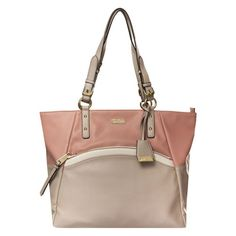 Noa Two Tone Front Zip Scoop Tote, Dusty Rose