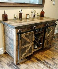 Buffets With Wine Storage Wine Storage Dry Bar Buffet Table Serving Table Buffet Furniture With Wine Storage Wooden Pallet Furniture, Bar Furniture, Wooden Pallets, Furniture Projects, Kitchen Furniture, Rustic Furniture, Pallet Projects, Modern Furniture, Cheap Furniture