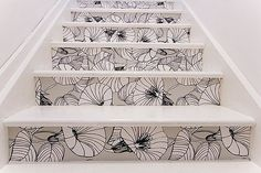 wallpaper on stair risers, love blk & wht
