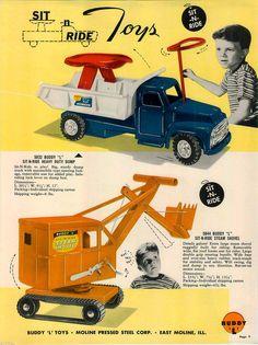 1956 Advert 16 PG Color Buddy L Toy Trucks Tow Dump Army Coca Cola Sit N Ride   eBay