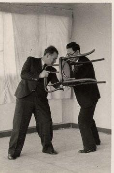Moshe Feldenkrais in Practising Judo in a Suit