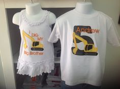 Greatstitch Excavator birthday shirt - brother and sister.