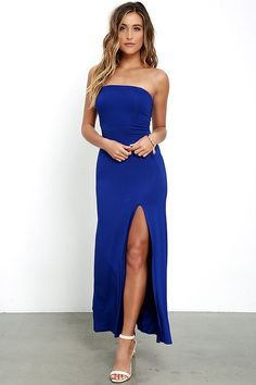 Magic will follow all who encounter the Enchanted Forest Royal Blue Strapless Maxi Dress! Jersey knit falls from an elasticized strapless bodice (with princess seams and open back), to a maxi skirt with side slit.