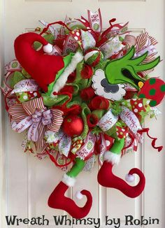 grinch decorations grinch in christmas tree christmas wresths christmas themes christmas crafts - Deco Mesh Christmas Wreath