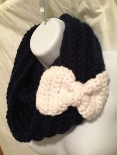 Crocheted Infinity Scarf with Bow - so cute!