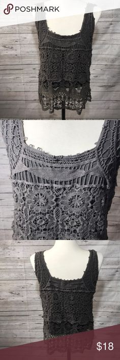 "Anthropologie Pins and Needle lace top L size L bust 17"" length 26"" good condition Anthropologie Tops Tank Tops"