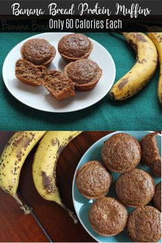 Use ALMOND FLOUR and ADD tsp Xanthan gum for each cup!These easy banana bread protein muffins are only 60 calories each! Perfect for a healthy breakfast or easy snack. Healthy Protein Snacks, Healthy Breakfast Smoothies, Healthy Muffins, Protein Foods, Protein Cake, Protein Cookies, Diabetic Snacks, Healthy Snacks Vegetarian, Skinny Muffins