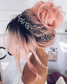 At Home Hair Color, Cool Hair Color, Food Color Hair Dye, Amazing Hair Color, Vivid Hair Color, Awesome Hair, Pretty Hairstyles, Wedding Hairstyles, Rose Hairstyle