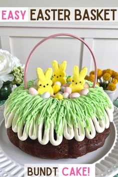 This Easter Basket Bundt Cake is an easy spring dessert for you next celebration -- transform a simple Bundt cake into a stunning Easter bunny centerpiece that everyone will rave about. #easter #bundt #cake #dessert #bunny #spring Holiday Cakes, Holiday Desserts, Holiday Baking, Easy Desserts, Holiday Recipes, Easter Treats, Easter Cookies, Easter Cake Icing Ideas, Cakes For Easter