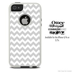 The Gray & White Chevron Skin For The iPhone 4-4s or 5-5s Otterbox Commuter Case on Etsy, $9.99
