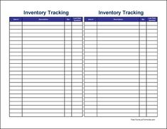 inventory sheets
