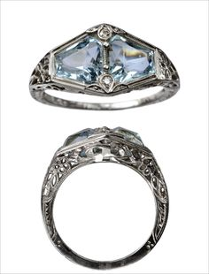 eriebasin: 1930s Double Aquamarine and Diamond Ring, 18K White Gold Filigree (in the online shop soon)