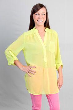 Neon Yellow Blouse $40