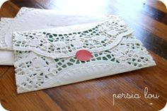 Diy Doily Envelopes!-- perfect for a tea party, bridal shower or a ladies luncheon :)