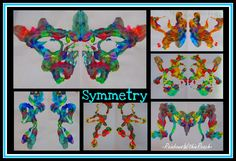 """Symmetry painting, with paint on a string! From series on """"Fine Motor leads to Fine Arts"""""""