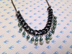 Chunky Chain Necklace with Pearl Dangles by CreativelyCraftedGA