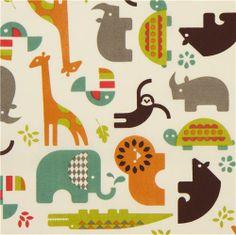 off-white birch safari animal organic fabric Soiree