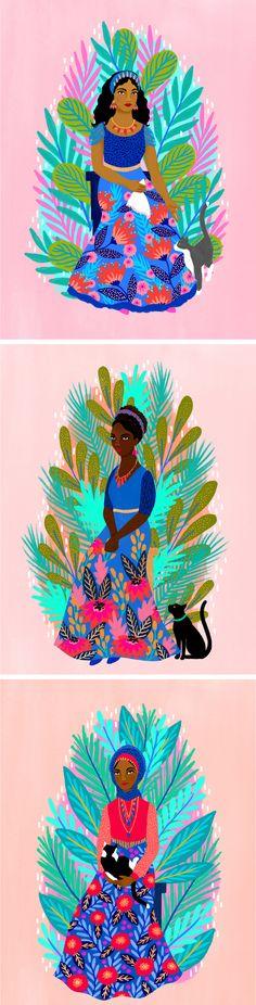 Illustrated women by Jess Phoenix | women of color illustration | portraits of women | illustrated portraits of women