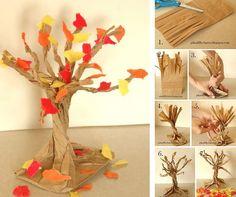 Herfstboom van papieren zak