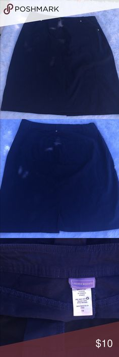 Laura Scott Navy Blue Skirt Size 14 Waist 17.5 Length 22 Laura Scott Skirts Midi