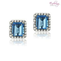 Sterling Silver 3 4/5 Carat Total Weight Emerald-Cut London Blue Topaz & CZ Earrings at 71% Savings off Retail!