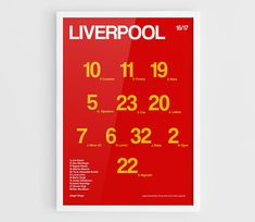 Liverpool FC 2016 2017 Football team squad poster  A3 Wall