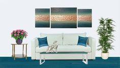 9a2d2b86e82 Textured wall art original painting 3PC canvas