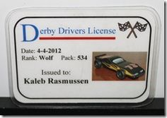 Pinewood Derby drivers licenses