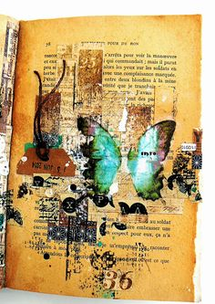 Week 12 Create page using recycled book paper, stamps, stencils and collage/stickers