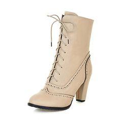 Calçados+Femininos+-+Botas+-+Botas+Cano+Curto+/+Arrendondado+/+Botas+da+Moda+-+Salto+Grosso+-+Preto+/+Amarelo+/+Bege+-+Courino+-+Social+–+BRL+R$+152,36