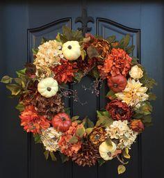 Thanksgiving Decor, XL Fall Wreaths, Fall Wreaths, Wreaths, Front Door Wreaths, Thanksgiving Wreath, Outdoor Fall Wreath, October Wreaths by twoinspireyou on Etsy https://www.etsy.com/listing/249464731/thanksgiving-decor-xl-fall-wreaths-fall