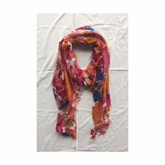 Oversized Bright Printed Scarf Fun and bright flower print scarf with a few sequins on the ends. Anthropologie Accessories Scarves & Wraps
