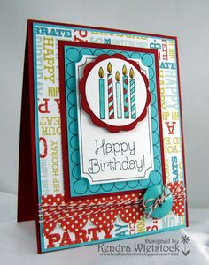 by Kendra Wietstock ~ http://kendrawietstock.blogspot.com.  Cupcakes and Candles set by Gourmet Rubber Stamps.