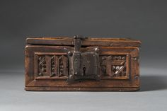 This extraordinary casket made from pear, was crafted in Germany during the century. Furniture Fittings, Medieval Crafts, Wood Trunk, B Words, Big And Small, Puzzle Box, Antique Boxes, Casket, 15th Century