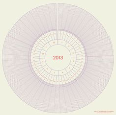 Love this - feels more natural to me than a straight line! The All Year Round Calendar gives a circular overview of year, months, weeks, days and hours, showing summertime with longer days and wintertime with shorter days.     The All Year Round Calendar is a graphic design poster that can be used for decoration and overview as well as being personalized with appointments, events and notes.
