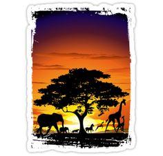 Wild Animals on African Savannah Sunset Stickers  by BluedarkArt