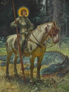 """art-and-things-of-beauty: """"Martin Wiegand - - St George and the dragon, oil on canvas, 112 x 84 cm. Fantasy Kunst, Fantasy Art, Saint George And The Dragon, Blog Art, Images Esthétiques, Catholic Art, Middle Ages, Painting & Drawing, Fairy Tales"""