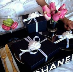 CHANEL VIP BEAUTE double handle tray Comes with Chanel box. Only given to VIP's at Chanel counters. Black acrylic thick tray with double sided handles. Mademoiselle Coco Chanel, Ellie Saab, Cloth Flowers, Luxe Life, Tumblr, Fancy, Breakfast In Bed, Perfect Breakfast, Morning Breakfast