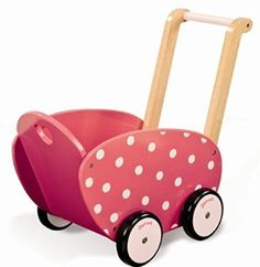 buy Janod Framboisine Wooden Doll's Pram - Raspberry with pink polka dot wooden doll's pram. Toddler Toys, Baby Toys, Kids Toys, Dolls Prams, Pram Toys, Top Toys, Wooden Dolls, Baby Kind, Happy Kids