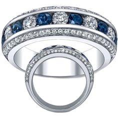 Diamond & Sapphire Wedding Ring by mdc-diamonds on Polyvore