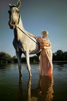 Big grey horse in the water with a lady. by Lelio-Alesta on deviantART