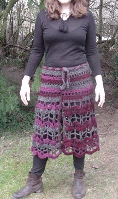 Rose and Grey Lace Skirt by KamallaCrochet on Etsy: This is the skirt that I made using half of the Open Air Shrug freebie from Lion in a Plus Size. Uisng light and stretchy yarn, the sleeve hole of the shrug became the waist hole of the skirt.