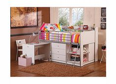 Kids Loft Bunk Bed With Storage Desk White Bedroom Work Play Sleep NEW  - EXCLUSIVE DEAL! BUY NOW ONLY $485.99