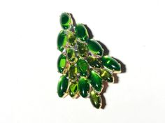 Stunning Vintage Czech Tree Christmas Brooch Pin with Faceted Rhinestone Green   eBay