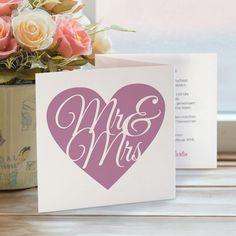 Hochzeitseinladung Mr & Mrs flieder