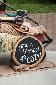 Provide cozy blankets at your outdoor wedding ceremony!