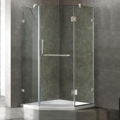 semiframed neoangle shower door in chrome with clear glass