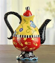 funky teapots- Colorful Teapot by Joyce Shelton Studios Ceramic Teapots, Ceramic Art, Teapots And Cups, Teacups, Cute Teapot, Teapots Unique, Tea Pot Set, Tea Sets, Tea Cozy