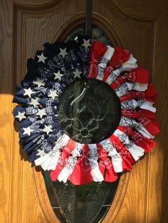 """24"""" Red, White, and Blue Flag Wreath, 4 of July, New Years, Memorial Day by PensPreciousTreasure on Etsy"""