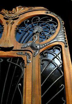 Iron details on the door of a famous Art Nouveau building located 29 avenue Rapp, Paris 7t
